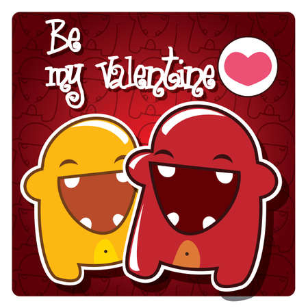 Valentine s card with cute monsters and a message, vector Vector