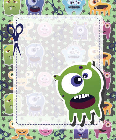 Happy birthday card with cute colorful monster, vector Stock Vector - 24285372