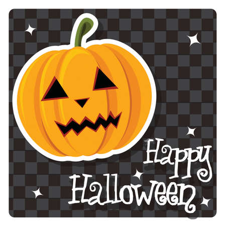 Happy Halloween card with pumpkin, vector Vector