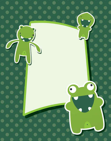 Happy birthday card with cute green monster, vector Vector