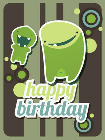 Happy birthday card with cute green monster, vector Stock Vector - 24286305