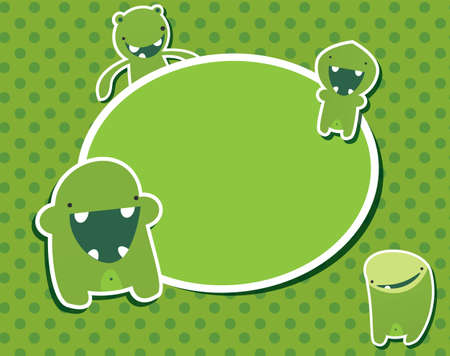 Happy birthday card with cute green monster, vector Stock Vector - 24286532