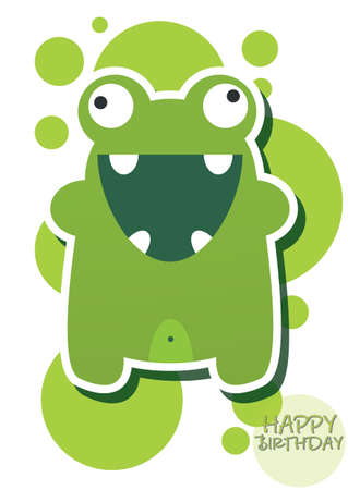 Card with cute monster, vector Vector