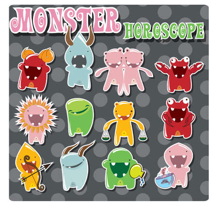 Horoscope signs with cute colorful monsters, vector Vector
