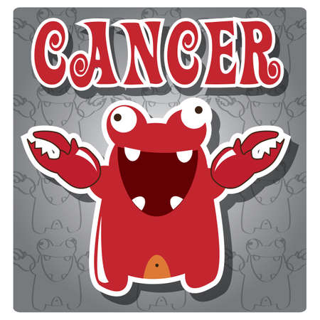 air animals: Zodiac sign Cancer with cute colorful monster, vector Illustration