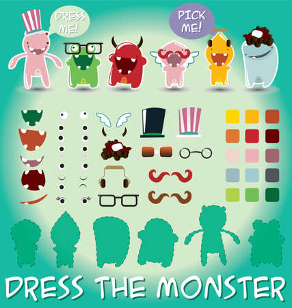 Set of cute little monsters for dress up, vector illustration Vector
