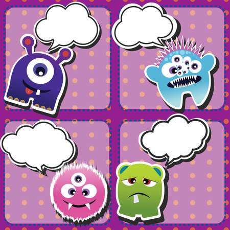 Set of cute little monsters on dotted background, vector Vector