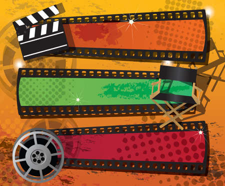 director chair: Set of three movie banners on grungy background with place for text, vector