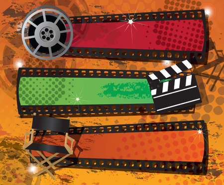 movie theater: Set of three movie banners on grungy background with place for text, vector