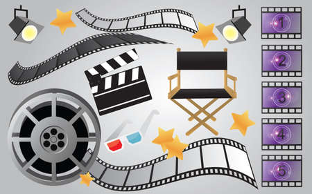 film projector: Collection of cinema or movie items, vector Illustration