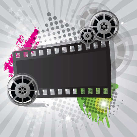 Movie background with film reel and film strip, vector