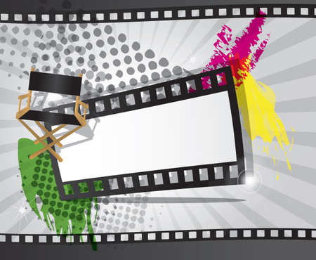 35mm film motion picture camera: Fondo de la pel�cula con la tira de pel�cula y director s silla, vector
