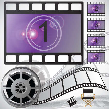 Movie countdown and reel, vector Vector