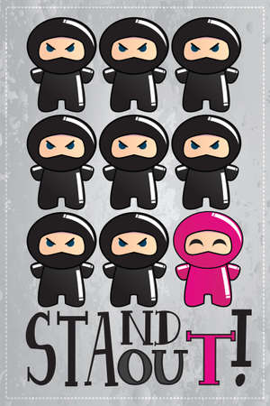 Card with cute cartoon ninja characters with a message to be unique and stand out from the crowd, vector Illustration