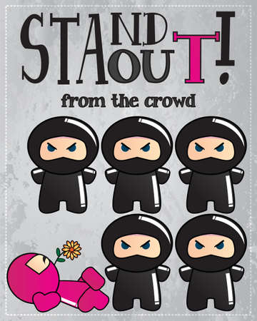 Card with cute cartoon ninja characters with a message to be unique and stand out from the crowd, vector Vector