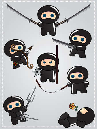 Collection of cute cartoon ninja warriors with various weapon, vector Illustration