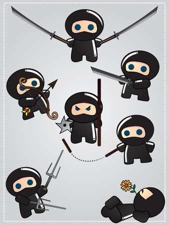 Het verzamelen van leuke cartoon ninja krijgers met diverse wapensystemen, vector