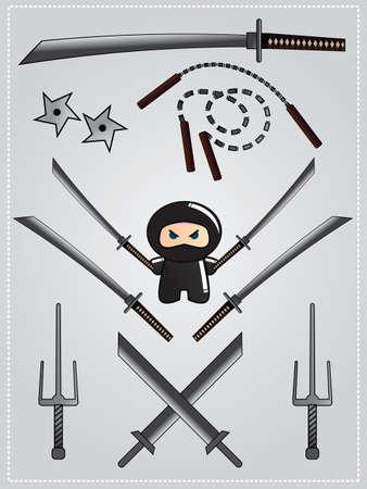 Collection of ninja weapon with cute ninja character holding katana, vector Vector
