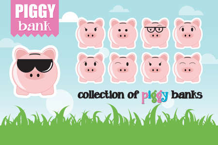 angry sky: Collection of piggy banks with different face expressions and attitudes