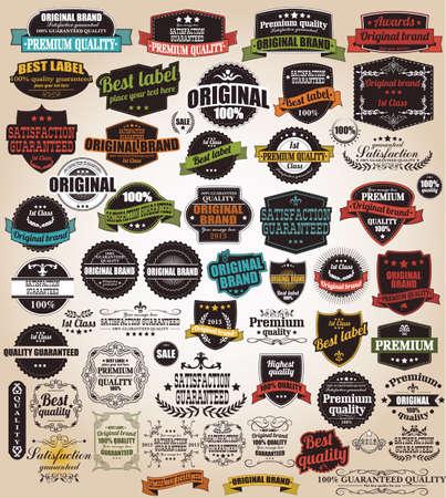 ビンテージ レトロなラベル、切手、リボン、マークと書道デザイン要素ベクトルのセット