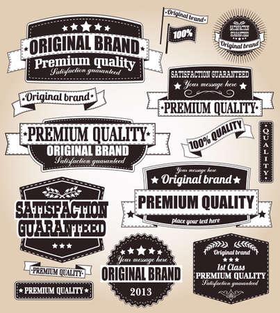 bordes decorativos: Conjunto de etiquetas de época retro, sellos, cintas, marcas y elementos de diseño caligráfico, vector