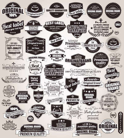 Set of vintage retro labels, stamps, ribbons, marks and calligraphic design elements, vector Stock Illustratie