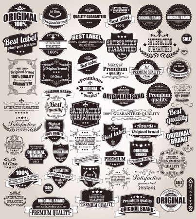 vintage: Uppsättning av vintage retro etiketter, stämplar, band, märken och kalligrafiska designelement, vektor Illustration