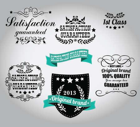 Set van vintage retro labels, stempels, linten, merken en kalligrafische ontwerpelementen, vector
