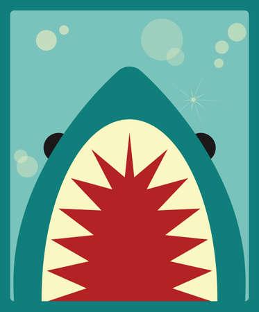 サメのポスター、ベクトル イラスト