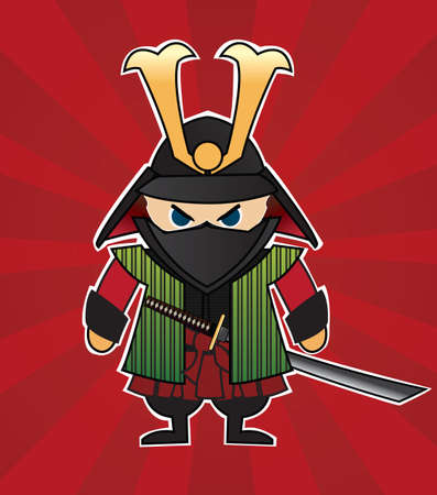 Samurai cartoon illustration on red sunburst background, vector
