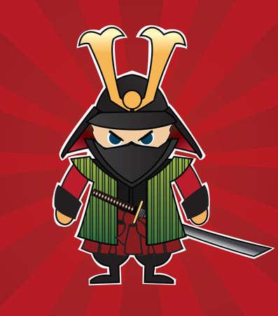ninja ancient: Samurai cartoon illustration on red sunburst background, vector