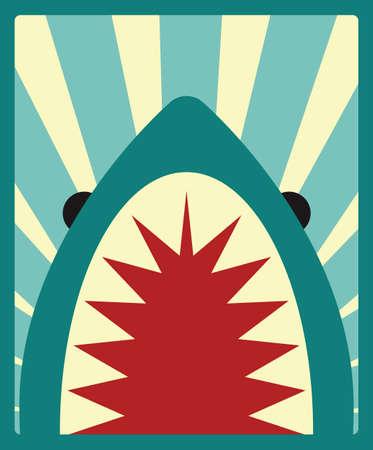 Haai poster, vector illustratie