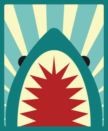 Shark poster, vector illustration Vector