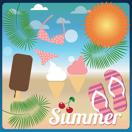 Collection of summer symbols on a beach, holiday card, vector Stock Vector - 24307686