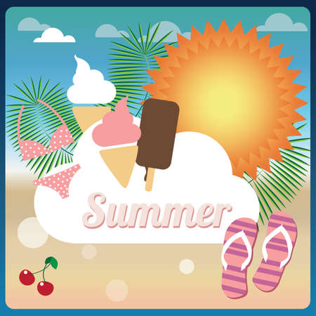 Collection of summer symbols on a beach, holiday card, vector Vector