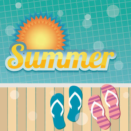 beach side: Summer holiday card with swimming pool and flip flops, vector Illustration