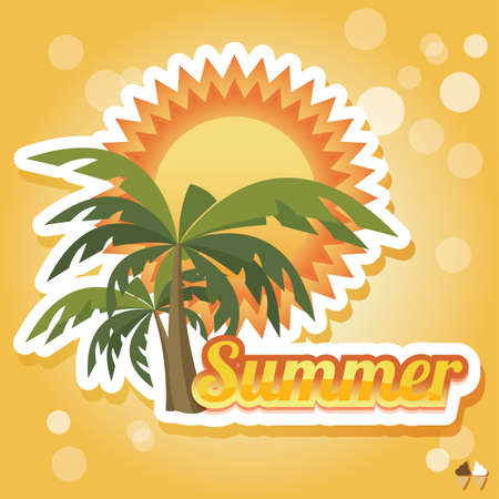 Summer holiday card with palm trees, vector Vector