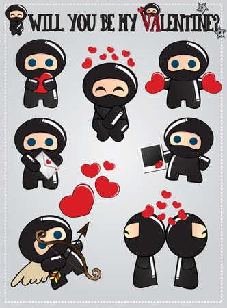 Het verzamelen van schattige ninja bedrijf tekens en verzenden harten en liefde berichten voor Valentijnsdag, vector