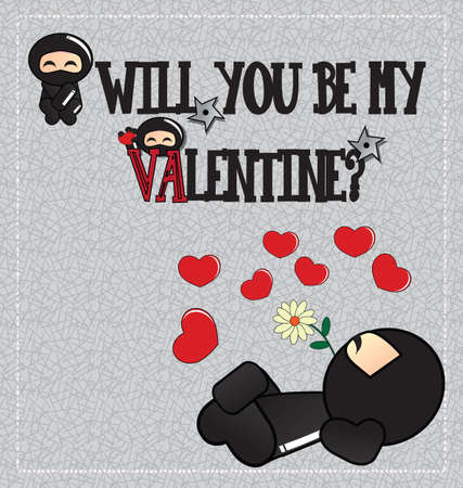 Valentine's day card with cute cartoon ninja character lying on the ground with a flower in his mouth, vector Stock Vector - 24307875