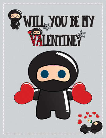 Valentines day card with cute ninja characters holding two hearts and lying with a flower, vector Vector