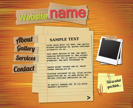 Website template elements, vintage style Vector