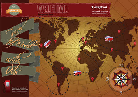 site map: Website template elements, world map with compass, vintage style Illustration