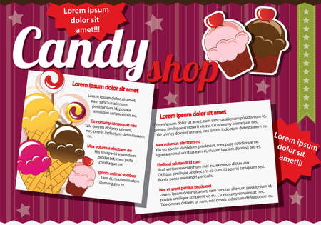 candy shop: Website template elements, vintage style, candy shop Illustration