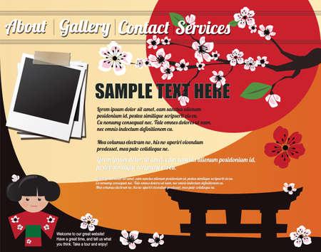 Website template design elements, Japanese motives Vector