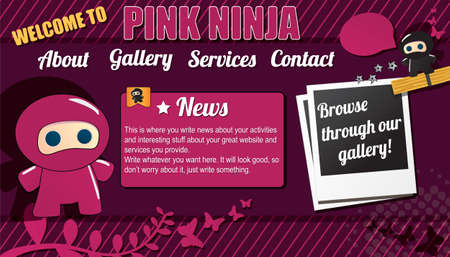 Website template design elements, with pink ninja Vector