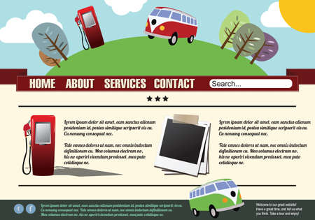 Website template design elements, gas pump, vintage style Vector