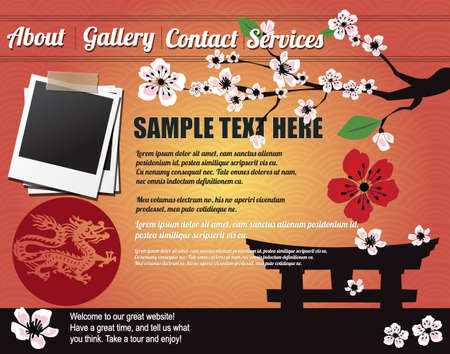 Website template design elements, Japanese motives Vector