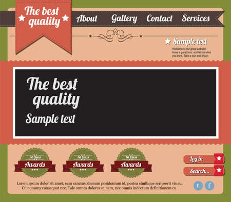 Website template elements, vintage style Vector