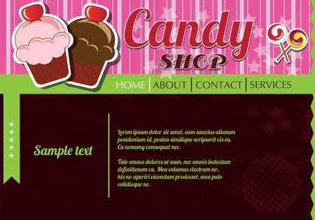 Website template design elements, candy shop Vector