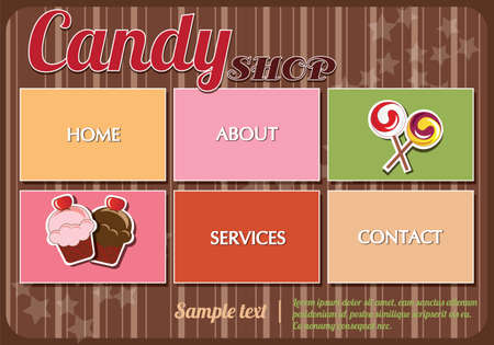 Website template design elements, candy shop Vector